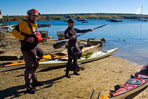 Austin and Mark in their favorite cold-water paddling clothing, ready to launch in Muscongus Bay.