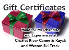 Purchase a Gift Certificate from Charles River Canoe & Kayak and Weston Ski Track today.