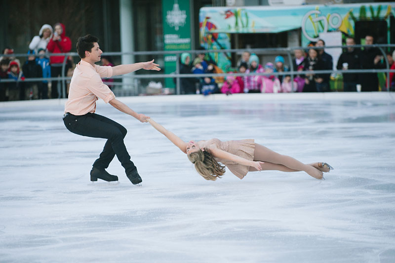 Figure skaters performing at the annual Holiday on Ice Show.