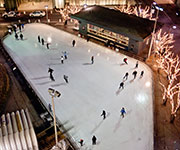 Aerial view of the rink at night.