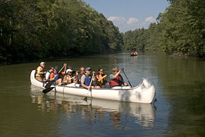 Our Ten-Person Rabaska Canoes are great fun for groups!
