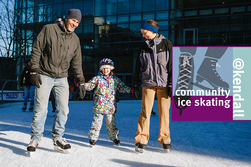 Two parents and their young child skate at Community Ice Skating @Kendall