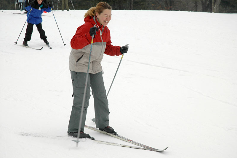 A student in our Beginner Ski Class tries the hill for the first time -- and succeeds!
